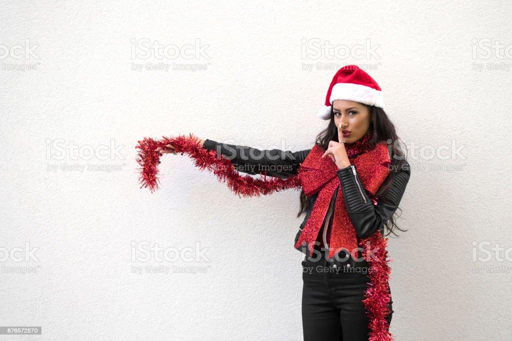 cf36b2556eac Christmas sexy woman on white wall background - saying