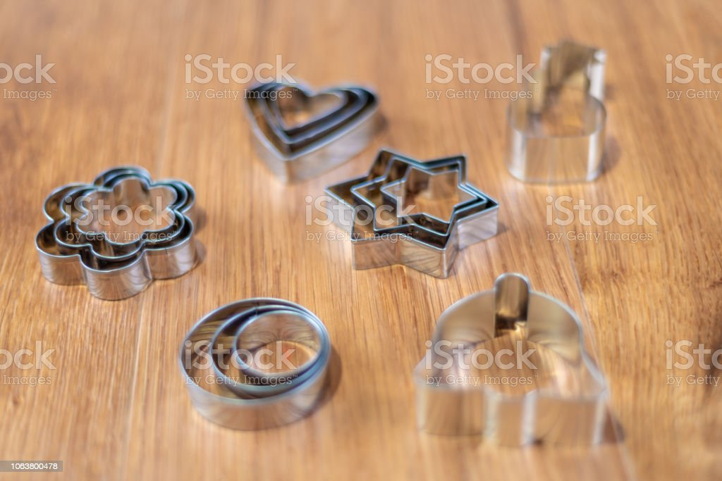 Christmas shaped pastry cutters stock photo