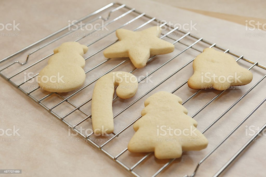 Christmas shaped sugar cookies cooling stock photo
