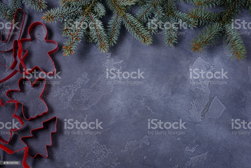 Christmas shapes pastry and fir tree stock photo