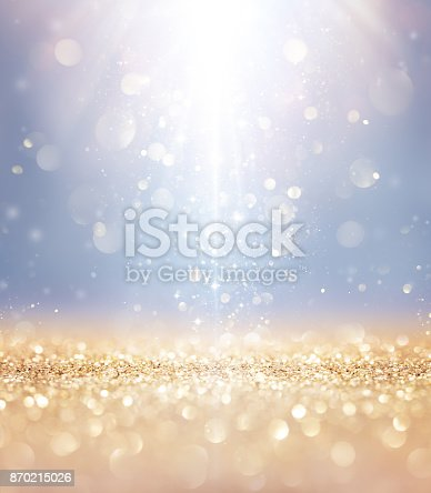 istock Christmas Shiny - Lights And Stars Falling On Golden Glitter 870215026