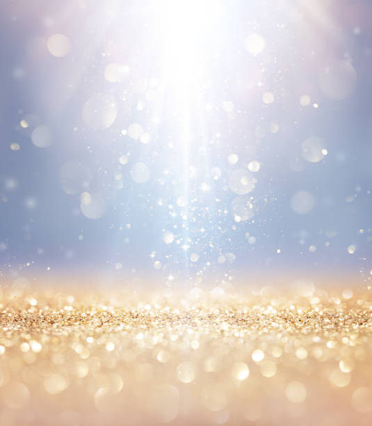 christmas shiny - lights and stars falling on golden glitter - ethereal stock pictures, royalty-free photos & images