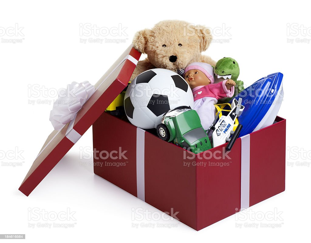 Christmas Shoebox for Children royalty-free stock photo