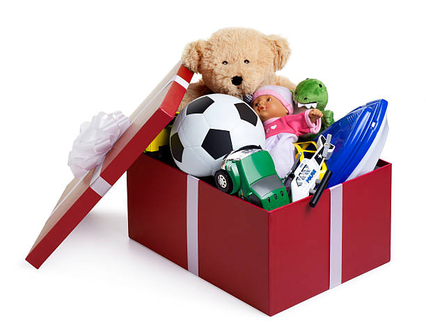 christmas shoebox for children - toy stock pictures, royalty-free photos & images