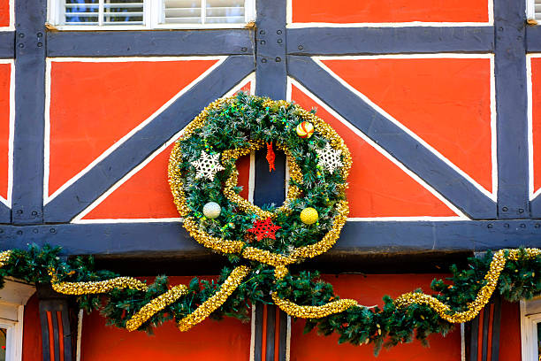 Solvang Ca Christmas.Christmas Shop Overhead Decoration In Solvang Ca Stock Photo