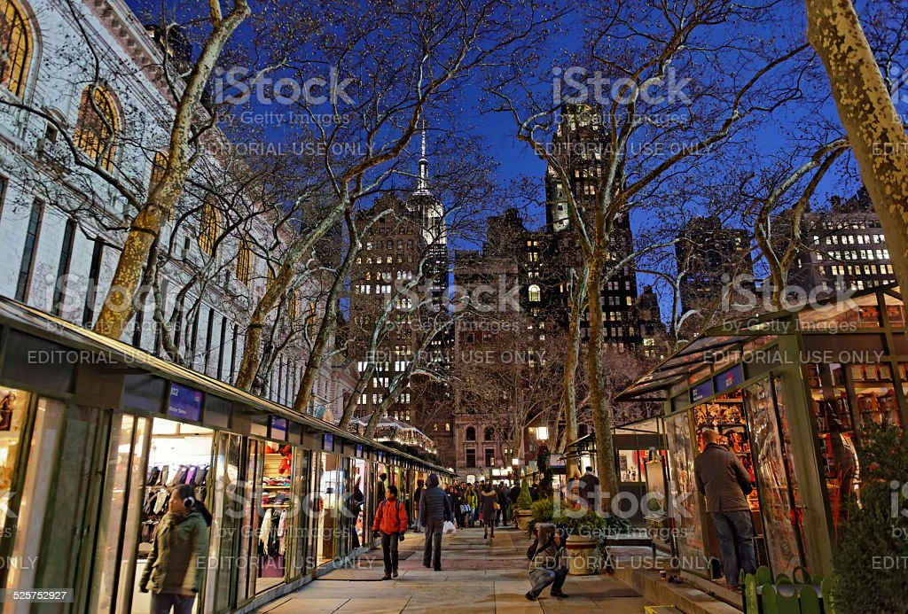 Christmas shopping at Bryant Park in New York City stock photo