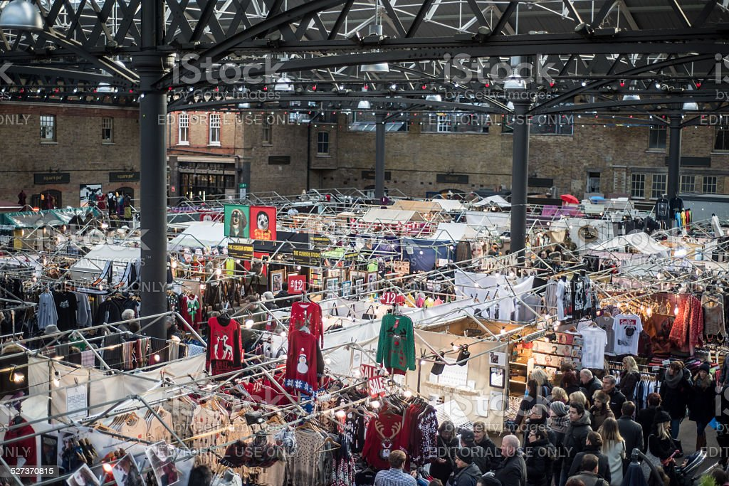 Christmas shopping at the Old Spitalfields Market in London stock photo