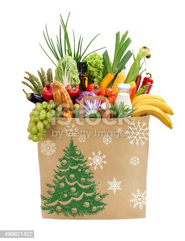 istock Christmas shopping bag 499621422
