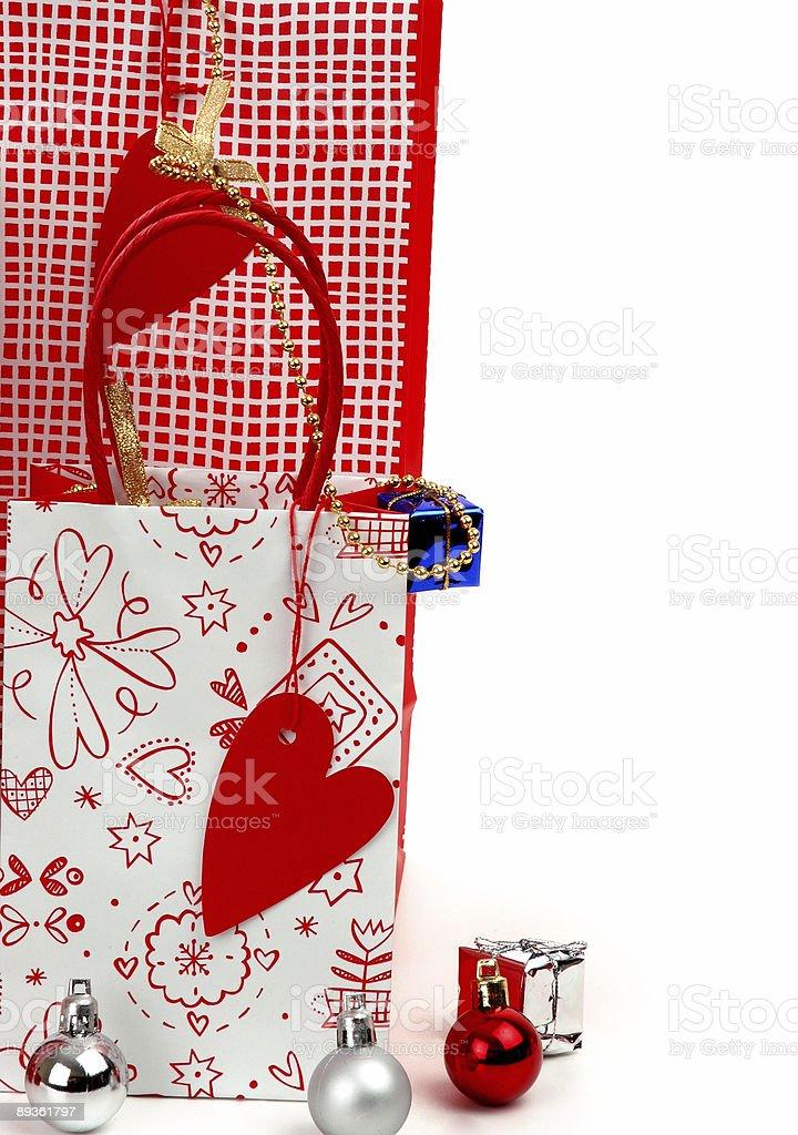 christmas shopping bag royaltyfri bildbanksbilder