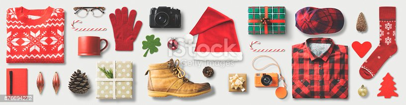 istock Christmas Shopping Flat Lay 876694272
