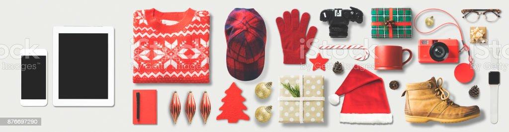 Christmas Shopping Flat Lay stock photo