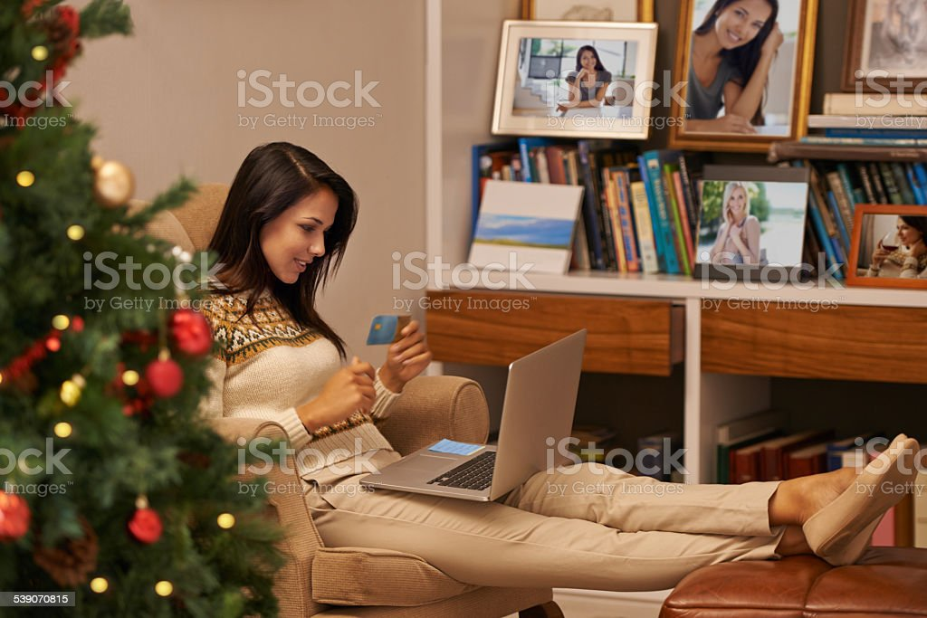 Christmas shopping from the comfort of home stock photo