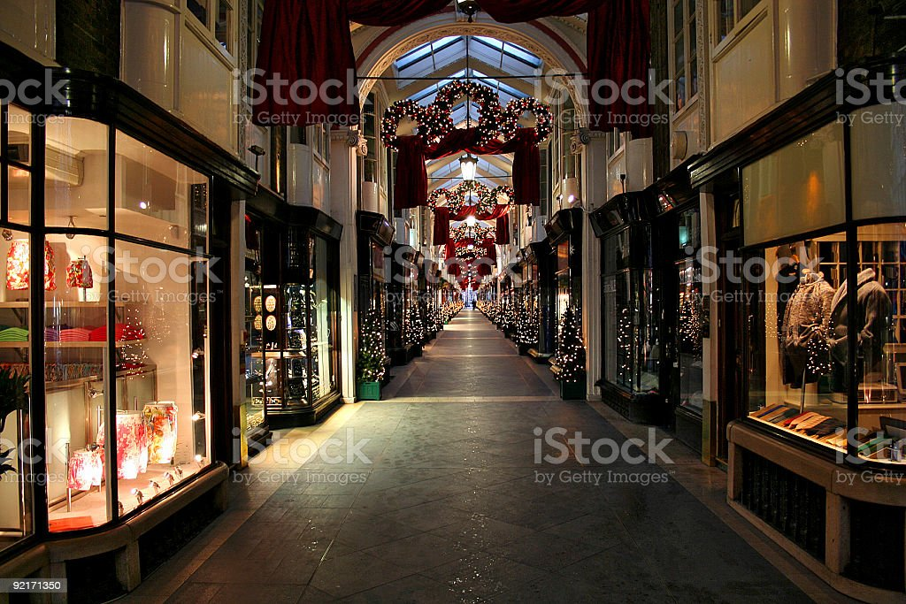 Christmas shopping gallery in London stock photo