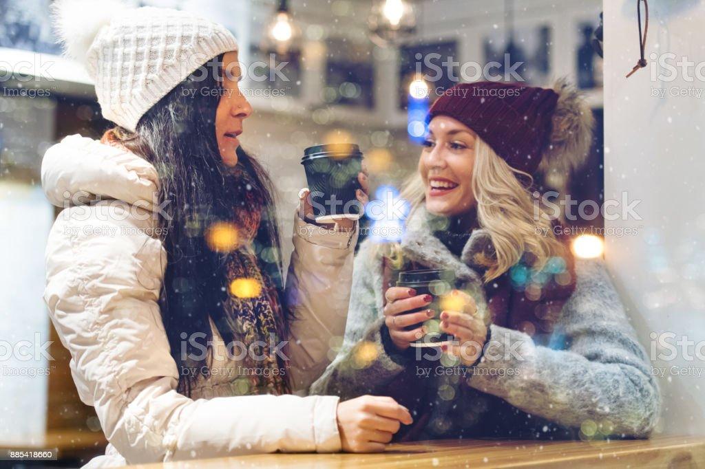 Christmas Shopping, hot chocolate time stock photo