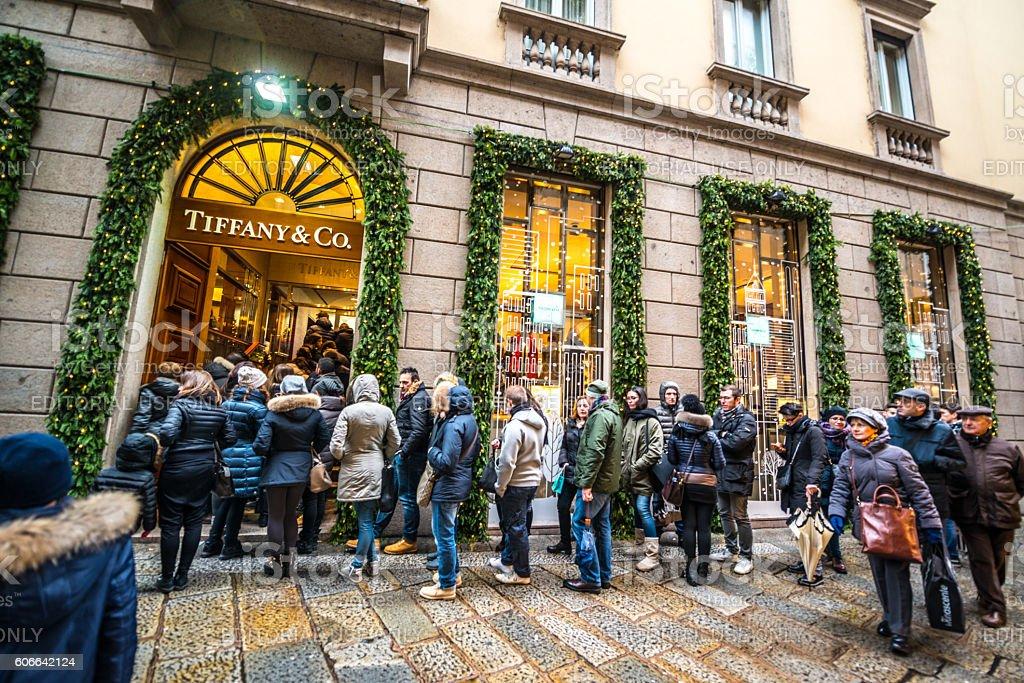 Christmas shopping in Milan, Tiffany & Co. stock photo