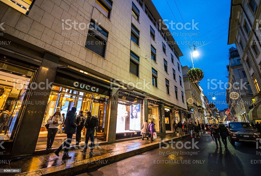 Christmas shopping in Milan, Via Monte Napoleone stock photo