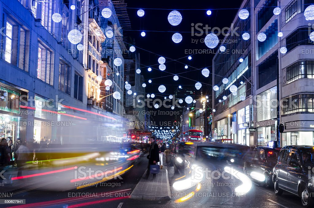 Christmas shopping in Oxford street, London stock photo