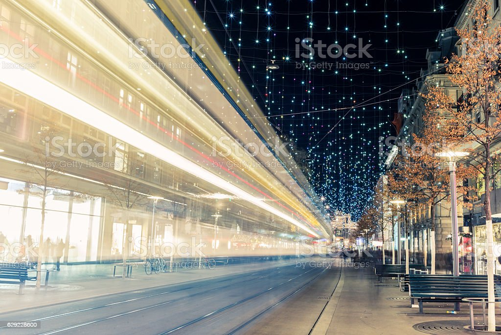 Christmas shopping in the decorated Zurich Bahnhofstrasse - 10 stock photo