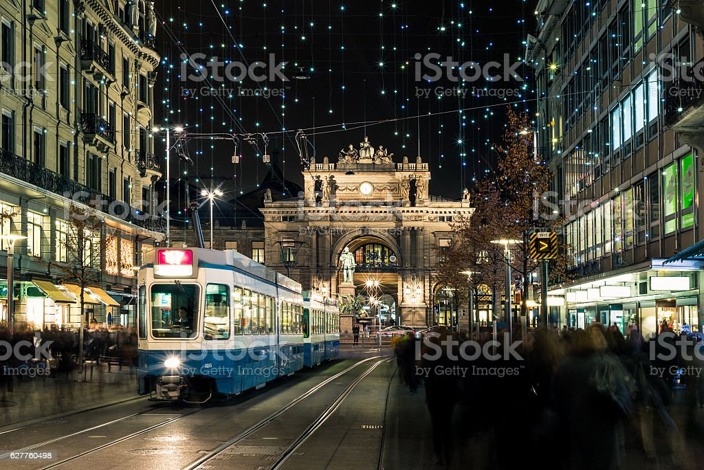 Christmas shopping in the decorated Zurich Bahnhofstrasse - 6 stock photo
