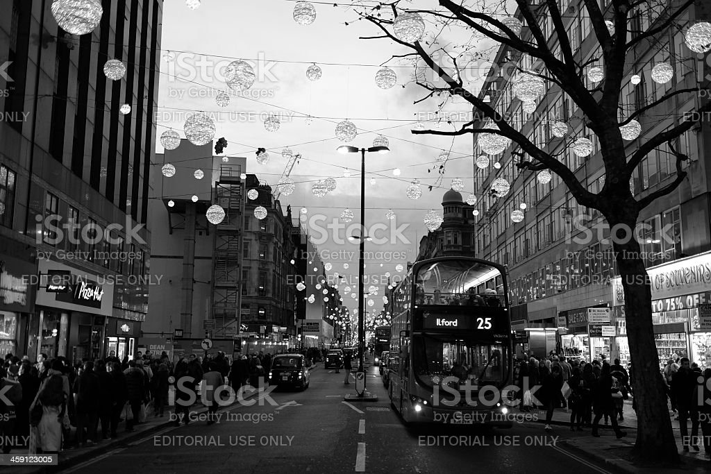 Christmas Shopping, Oxford Street, London stock photo