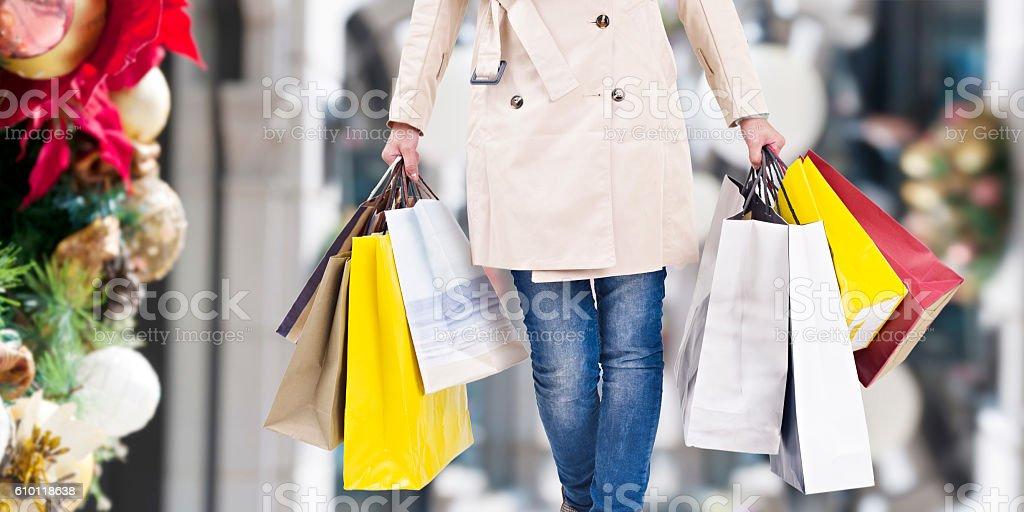 christmas shopping stok fotoğrafı