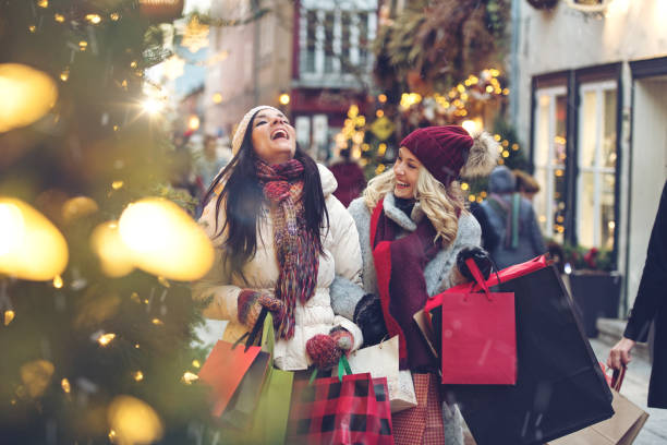 christmas shopping - shopping stock photos and pictures