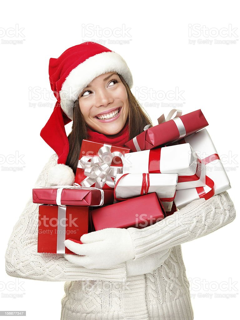 Christmas shopping woman holding gifts royalty-free stock photo