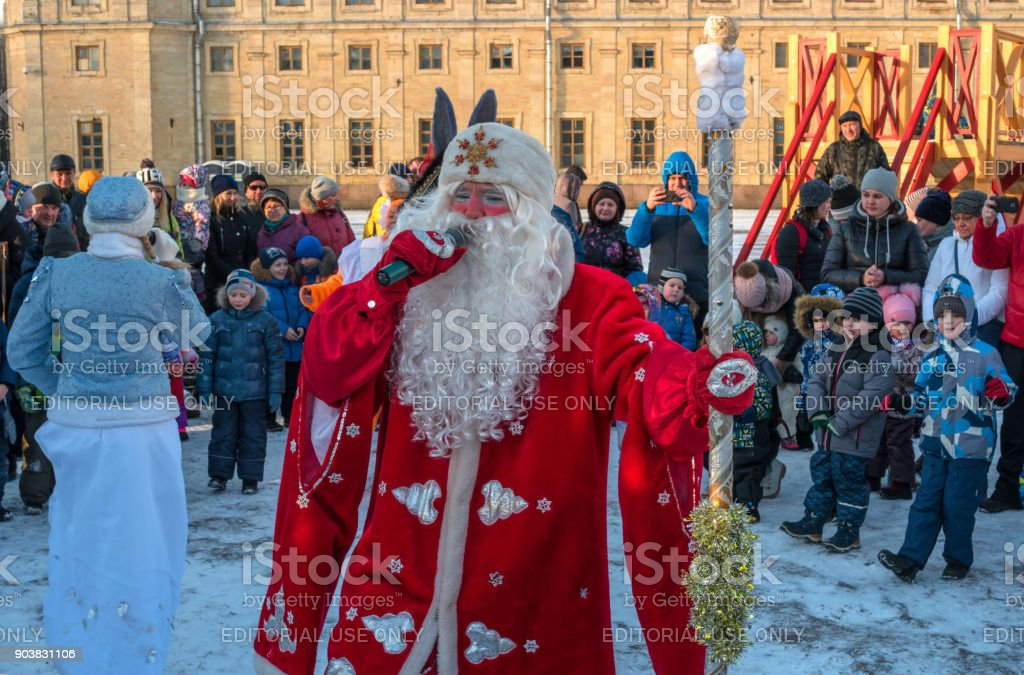 Christmas show for children on the parade ground in front of the Gatchina Palace. stock photo