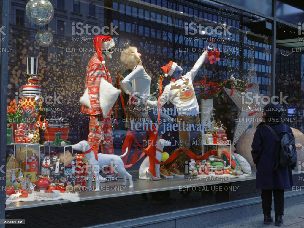 Christmas show window of Stockmann department store Helsinki: Christmas show window of Stockmann department store. This store is the largest department store in the Nordic countries Capital Cities Stock Photo