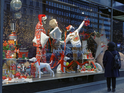 Christmas Show Window Of Stockmann Department Store Stock Photo - Download Image Now