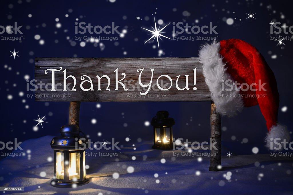 Weihnachten bei Kerzenlicht Santa Hut Vielen Dank, – Foto
