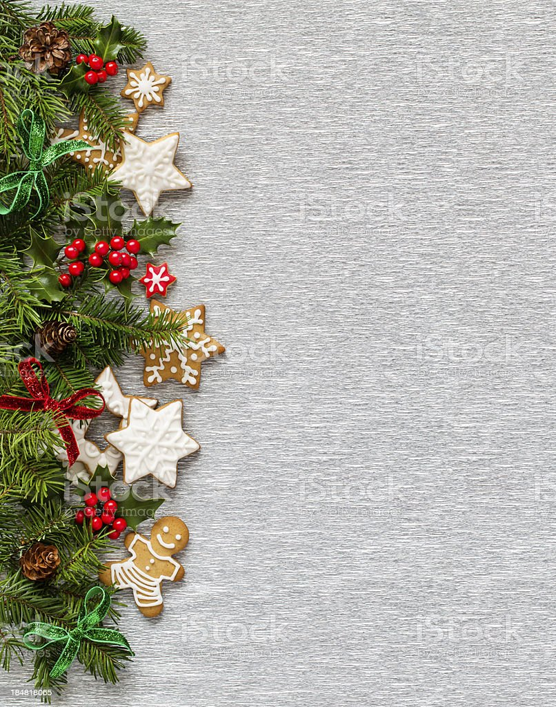 Christmas Silver background. Vertical Border stock photo