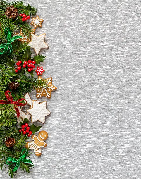 Weihnachten Silber Hintergrund.  Vertikale Grenze – Foto