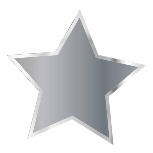 Christmas silver star on white background stock photo