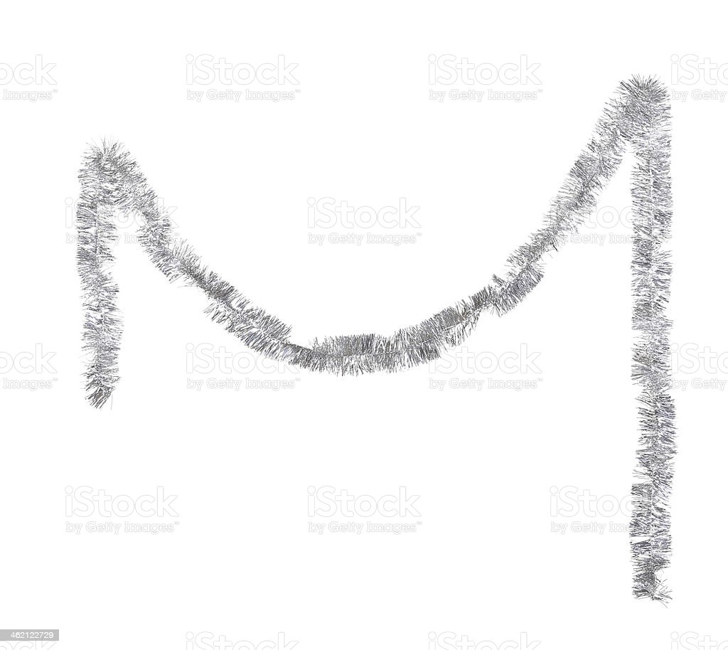 Christmas silver tinsel. stock photo