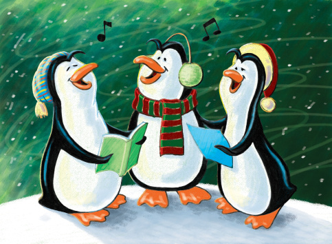 Christmas Singing Penguins Stock Photo - Download Image Now