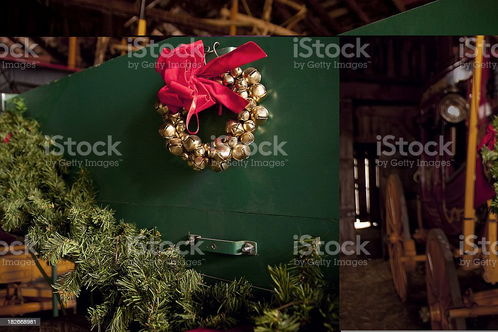 Christmas Sleigh Bells And Pine Tree Garland Decorate Wagon Stock Photo Download Image Now Istock