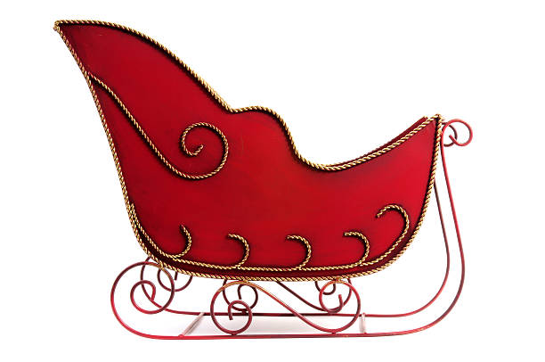 Christmas sleigh that is red and gold Christmas Decoration Sleigh sleigh stock pictures, royalty-free photos & images
