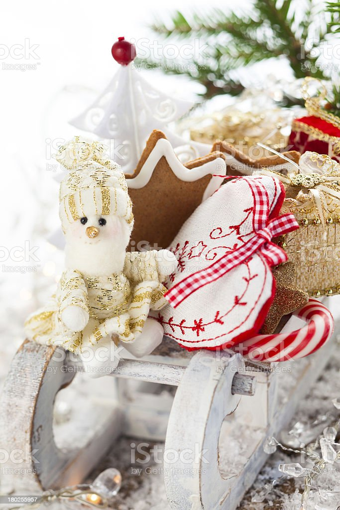 Christmas sleigh with gifts. royalty-free stock photo