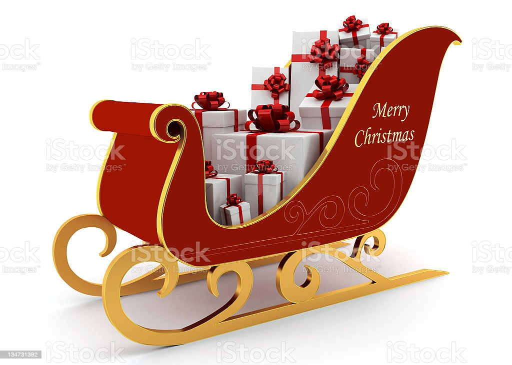 Christmas Sleigh With White Presents Stock Photo Download Image Now Istock