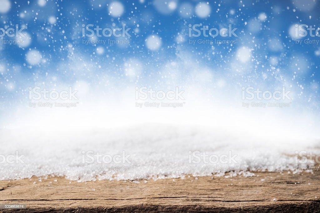Weihnachten Schnee und Holz Hintergrund – Foto