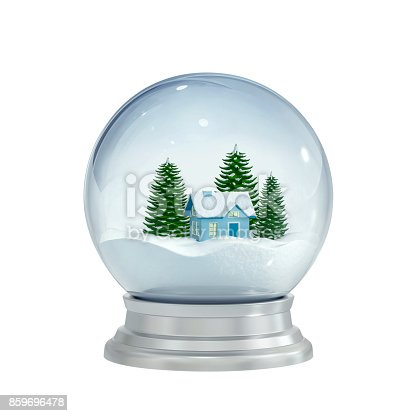 istock Christmas snow globe isolated on white 859696478
