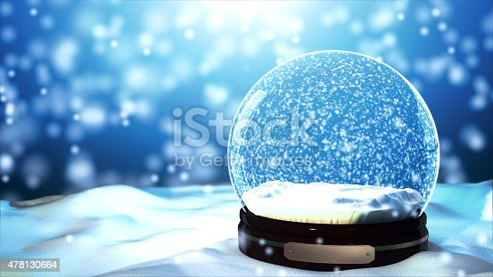 istock Christmas Snow globe Snowflake with Snowfall on Blue Background 478130664