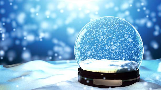 Christmas Snow globe Snowflake with Snowfall on Blue Background stock photo