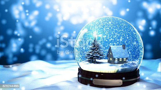 istock Christmas Snow globe Snowflake with Snowfall on Blue Background 525244485