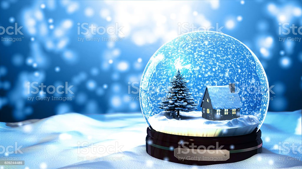 Christmas Snow globe Snowflake with Snowfall on Blue Background stock photo