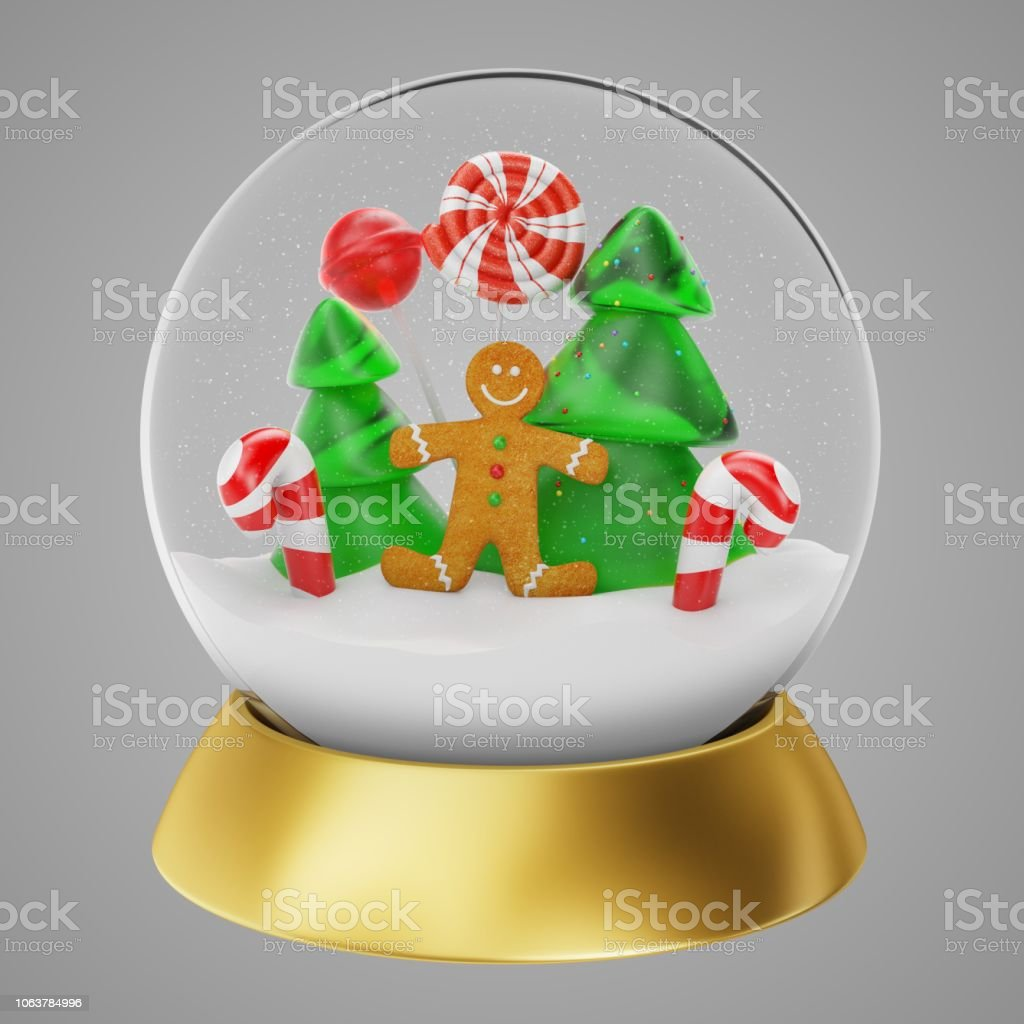 Christmas Snow Globe With Gingerbread Man In A Forest Inside 3d
