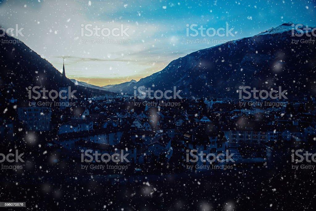 Christmas snow in Chur, Switzerland royalty-free stock photo