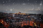 Christmas snow night lights in Prague, Europe