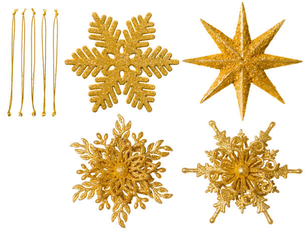 christmas snowflake ornament, hanging snow flake decoration, new year toy white isolated - christmas decoration stock pictures, royalty-free photos & images